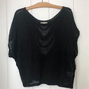 ✪ Lush Black Cropped Open Back Design Sweater